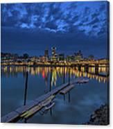 The Portland Oregon Waterfront Blue Hour Canvas Print