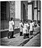 The Procession - Black And White Canvas Print