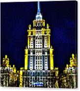The Raddison-stalin's Wedding Cake Architecture-in Moscow-russia Canvas Print