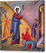 the raising of Lazarus from the dead Canvas Print