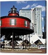The Red Beacon From Baltimore Harbor Canvas Print
