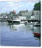 The Red Boat  Nantucket Harbor Canvas Print