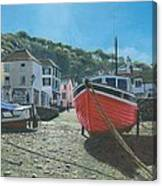 The Red Boat Polperro Corwall Canvas Print