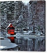 The Red Boathouse - Old Forge Ny Canvas Print