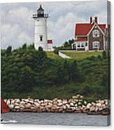 The Red Sail  Nobska Lighthouse Cape Cod Canvas Print