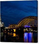 The Rhine Rail Bridge And Cathedral Of Cologne Canvas Print