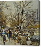 The Rive Gauche Paris With Notre Dame Beyond Canvas Print