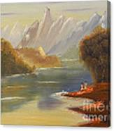 The River Flowing From A High Mountain Canvas Print