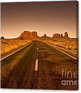 The Road To Monument Valley -utah  Canvas Print