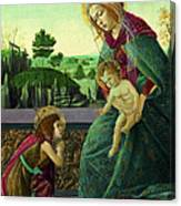The Rockefeller Madonna. Madonna And Child With Young Saint John The Baptist Canvas Print