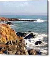 The Rocky Coastline Meets The Ocean Canvas Print