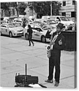 The Saxman In Black And White Canvas Print
