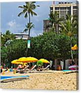 The Scene At Waikiki Beach Canvas Print