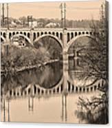 The Schuylkill River And Manayunk Bridge In Sepia Canvas Print