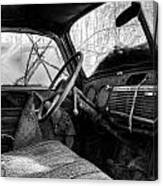 The Seat Of An Old Truck In Black And White Canvas Print