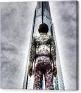 The Shard And Man Statue Canvas Print