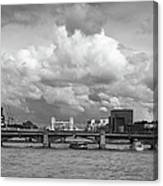 The Shard And Thames View Black And White Version Canvas Print