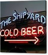 The Shipyard Cold Beer Neon Sign Canvas Print