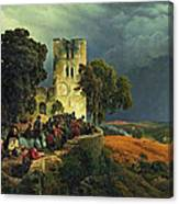 The Siege. Defense Of A Church Courtyard During The Thirty Years' War Canvas Print