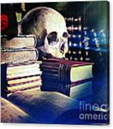 The Skull The Spell Book And The Rose Canvas Print