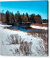 The Snowy Moose River - Old Forge New York Canvas Print