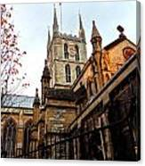 The Southwark Cathedral Church London In Winter Canvas Print