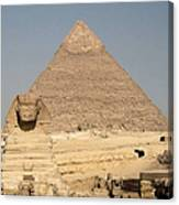The Sphinx Guarding The Pyramid Canvas Print