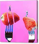 The Star On Strawberry Miniature Art Canvas Print