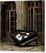 The Stone Sphere And Broken Grand Piano Canvas Print