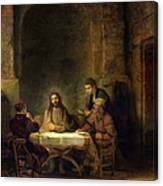 The Supper At Emmaus, 1648 Oil On Panel Canvas Print