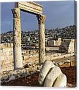 The Temple Of Hercules And Sculpture Of A Hand In The Citadel Amman Jordan Canvas Print