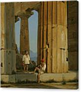 The Temple Of Poseidon. Paestum Canvas Print