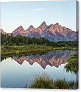 The Tetons Reflected On Schwabachers Landing - Grand Teton National Park Wyoming Canvas Print