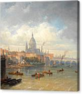 The Thames With Somerset House And St Pauls Cathedral Canvas Print