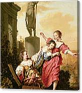The Three Daughters Of Cecrops Discovering Erichthonius Canvas Print