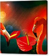 The Three Flamingos - Featured In 'feathers And Beaks' 'wildlife' And 'comfortable Art'  Groups Canvas Print