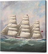 The Three-master Hahnemann In Full Sail Off A Headland Canvas Print