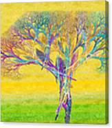 The Tree In Spring At Midday - Painterly - Abstract - Fractal Art Canvas Print