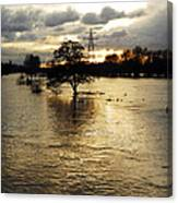 The Trent Washlands In Full Flood Canvas Print