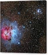 The Trifid Nebula And Messier 21 Canvas Print