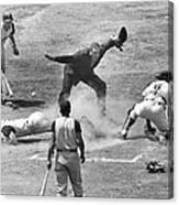 The Umpire Calls It Safe Canvas Print