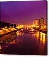 The Vardar River In Skopje At Night. Canvas Print