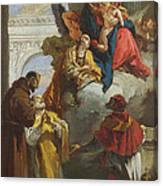 The Virgin And Child Appearing To A Group Of Saints Canvas Print