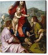 The Virgin And Child Between Saint Matthew And An Angel Canvas Print