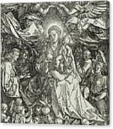 The Virgin And Child Surrounded By Angels Canvas Print