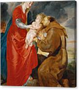 The Virgin Presents The Infant Jesus To Saint Francis Canvas Print