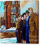 The War Years 1942 Montreal St Mathieu And De Maisonneuve Street Scene Canadian Art Carole Spandau Canvas Print