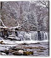 The Waterfall Near Valley Green In The Snow Canvas Print