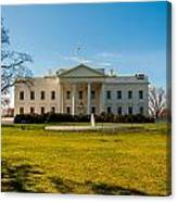 The White House In Washington Dc With Beautiful Blue Sky Canvas Print