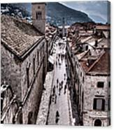 The White Tower In The Stradun From The Ramparts Canvas Print